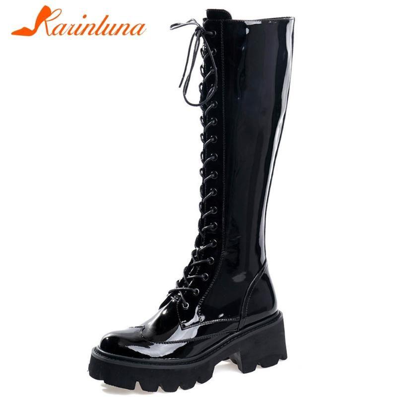Boots Brand Brand Luxbery Высокое Качество Натуральная Ковека Квадратный Каблук Патент Круглый Носок Зип Сплошная Колетая Женщина