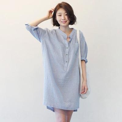 donne di stile coreano a righe st collare di media lunghezza manica corta sciolto biancheria camicia di cotone della camicia di grandi dimensioni anteriore corto femminile e lunga indietro c