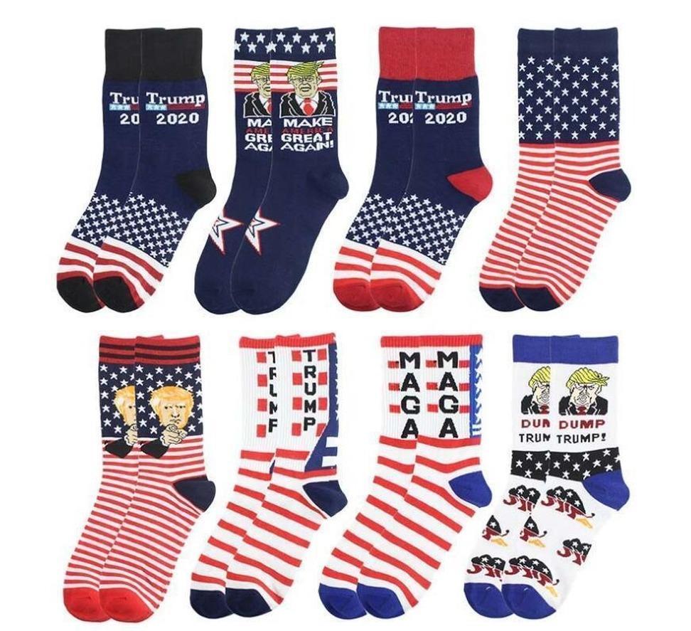 DHL Ship 2020 Trump Socks President MAGA Trump Letter Stockings Striped Stars US Flag Men's Sports Socks MAGA Sock Party Favor