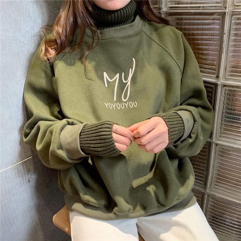 uDCvb 2020 Outono e Inverno novo coreano alto estilo de roupa de manga comprida camisola das mulheres mais carta camisola gola de veludo engrossado das mulheres