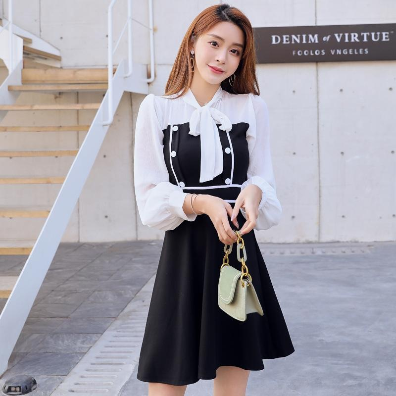 NrGtP 2020 estilo de Outono Nova Hepburn vestido preto pequeno vestido graciosa pequena clássica para mulheres
