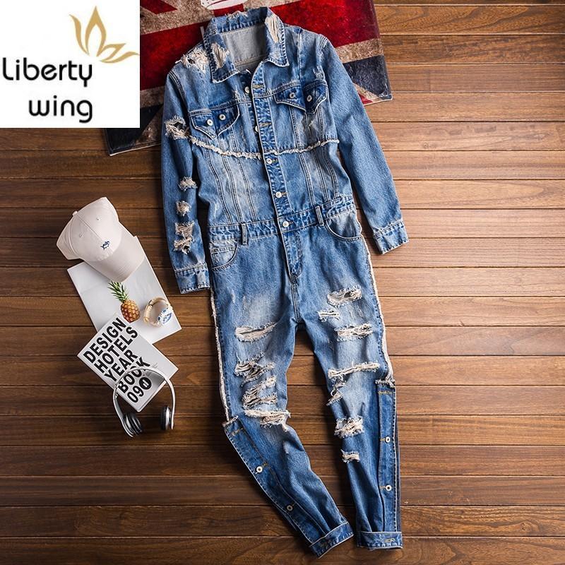 Moda Erkek Tek Parça Tulum Delik Jeans Uzun Kollu Baghee tulumları Denim Kargo Pantolon Gündelik Kovboy Streetwear Ripped