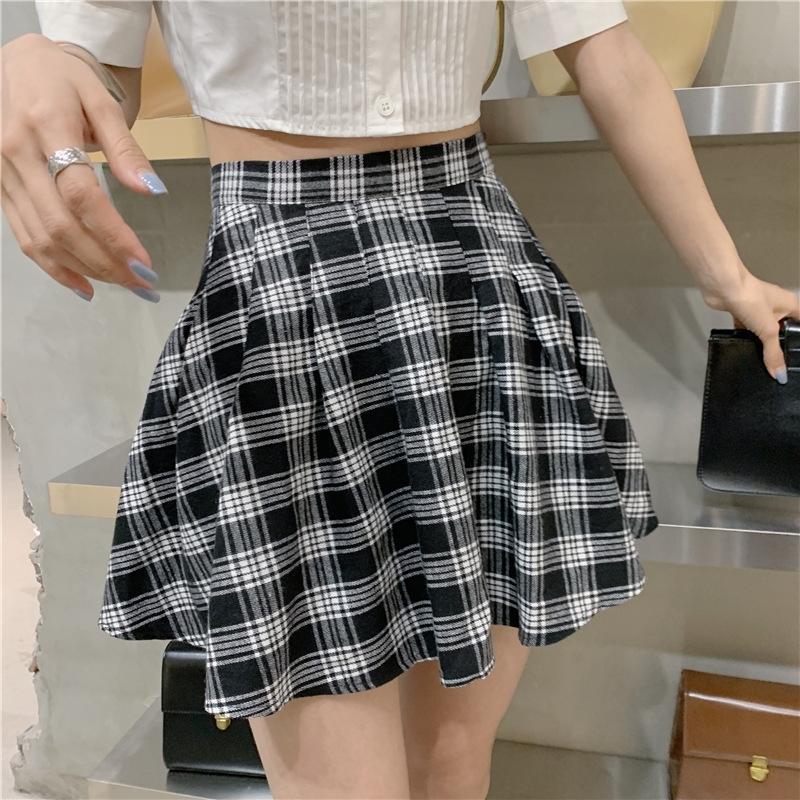 yAFkL cintura alta xadrez plissado Primavera / Verão estilo de Nova A- A- de Mulheres 2020 saia do vestido linha A- saia de linha incrível