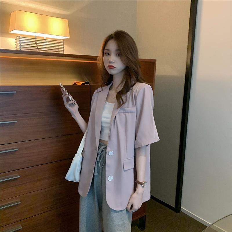 eHJnp b3AL8 2020 verano verano traje de Corea nueva flojo coreano elegante estilo suelto de la solapa del todo-fósforo del estilo de manga corta pequeña chaqueta de traje hombro w