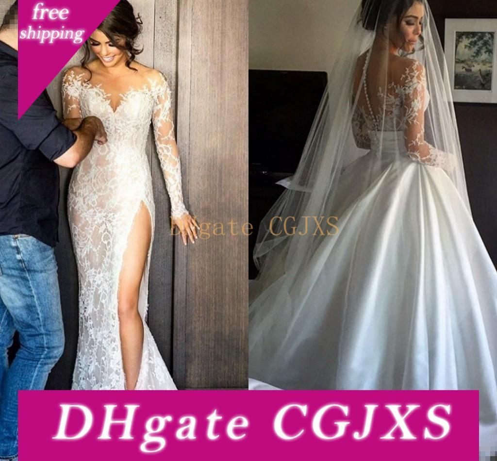 Sexy Split Lace Wedding Dresses With Detachable Skirt Long Sleeves Sheath Illusion Back High Slit Overskirts Bridal Gowns Cheap Custom