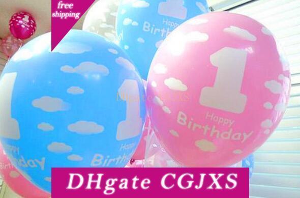 Hot Festliche Ballone für Baby-1 Erste Geburtstags-Feier-Mädchen-Jungen Printed Nummer 1 Kinder-Geburtstags-Party