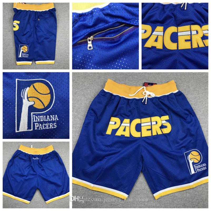 para hombre de IndianaPacers Jersey 4 Oladipo 31 Miller Sólo Don cosido transpirable bolsillo del pantalón clásico pantalón de deporte de baloncesto cortos
