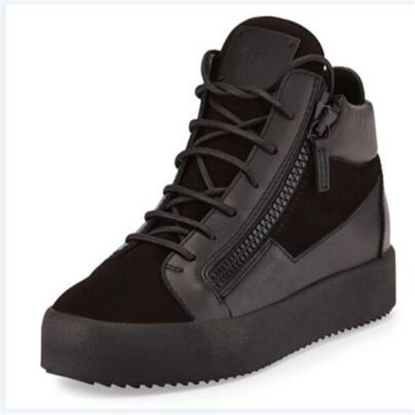 AB 35-47 Moda Klasik Yeni Yüksek Üst Erkek Ayakkabı Yüksek dereceli Deri Çift Fermuar, Siyah Süet Dikiş Zip Dekorasyon Kadınlar Rahat Ayakkabılar