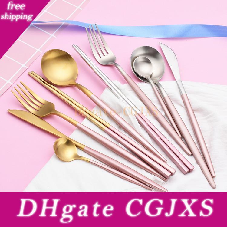 Geschirr Löffel-Gabel-Messer-Mi Silber Gold Edelstahl 304 Besteck Bestecke Geschirr mit rosa Griff