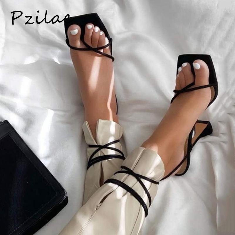 Pzilae 2020 패션 여름 파티 드레스 신발 크로스 스트랩 레이스 업 여성 높은 뒤꿈치 신발 검투사 샌들 크기 42 펌프