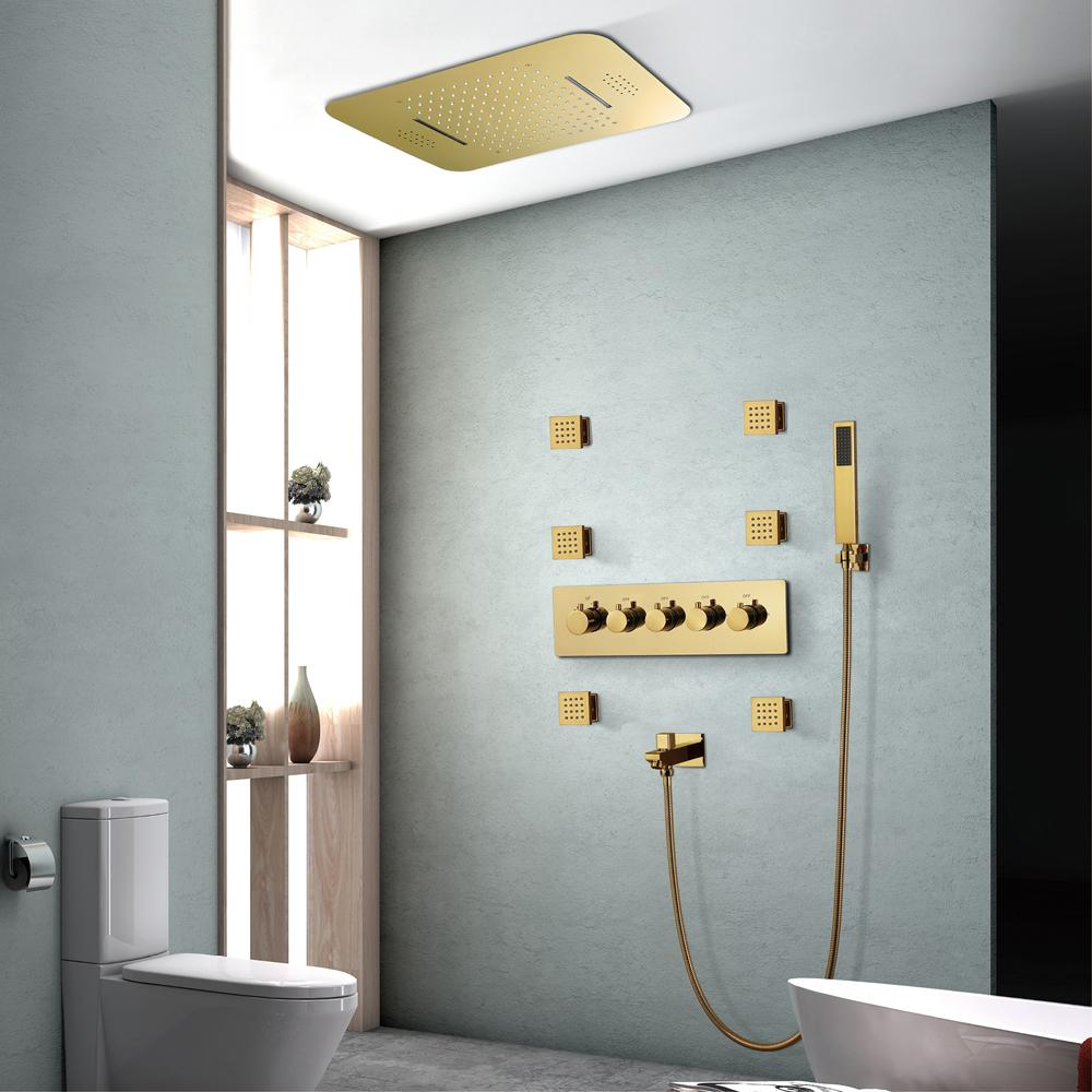 Bluetooth Music Showers Sets Rainfall Wasserfall Duschkopf Moderne LED Dusche Set Gold Farbe Thermostat Messing Mischer