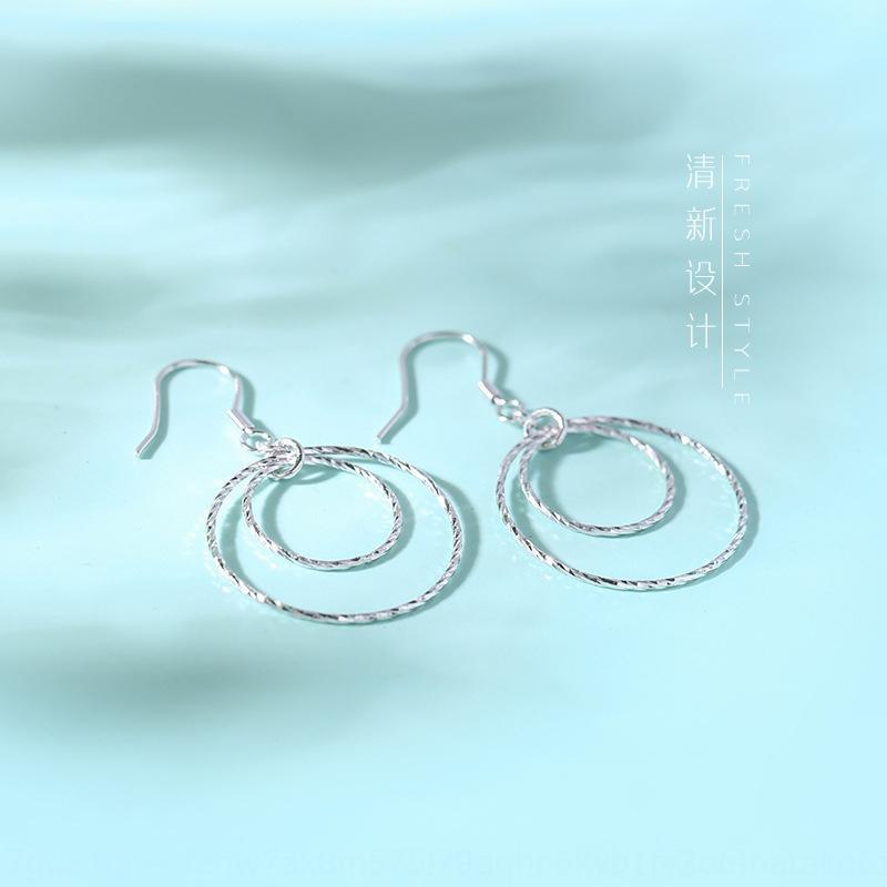 court style coréen S925 et élégant cercle personnalisé doubles boucles d'oreilles couche fraîche Suchuang boucles de cheveux otNVo