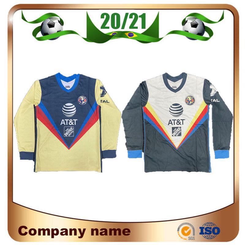 2020 Manga Longa Liga MX Club América Futebol Jerseys 20/21 América Equipe C.Dominguez O.Peralta P.Aguilar Camisa de Futebol Uniforme