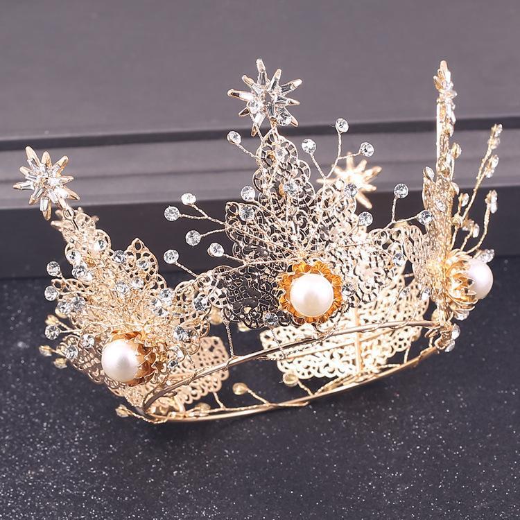 Exagerada anillo de la corona brillante de alta calidad tocado de perlas accesorios de la boda de la reina de la corona corte barroco hechos a mano