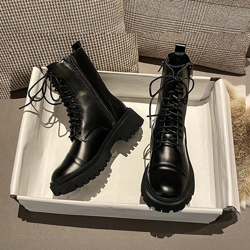 Gerçek Deri Martin Çizme Kauçuk Kadın ayakkabı 2020 Fermuar Platformu Ayakkabı Kadın Patik Siyah Çizme İçin Kadınlar Bottine Femme