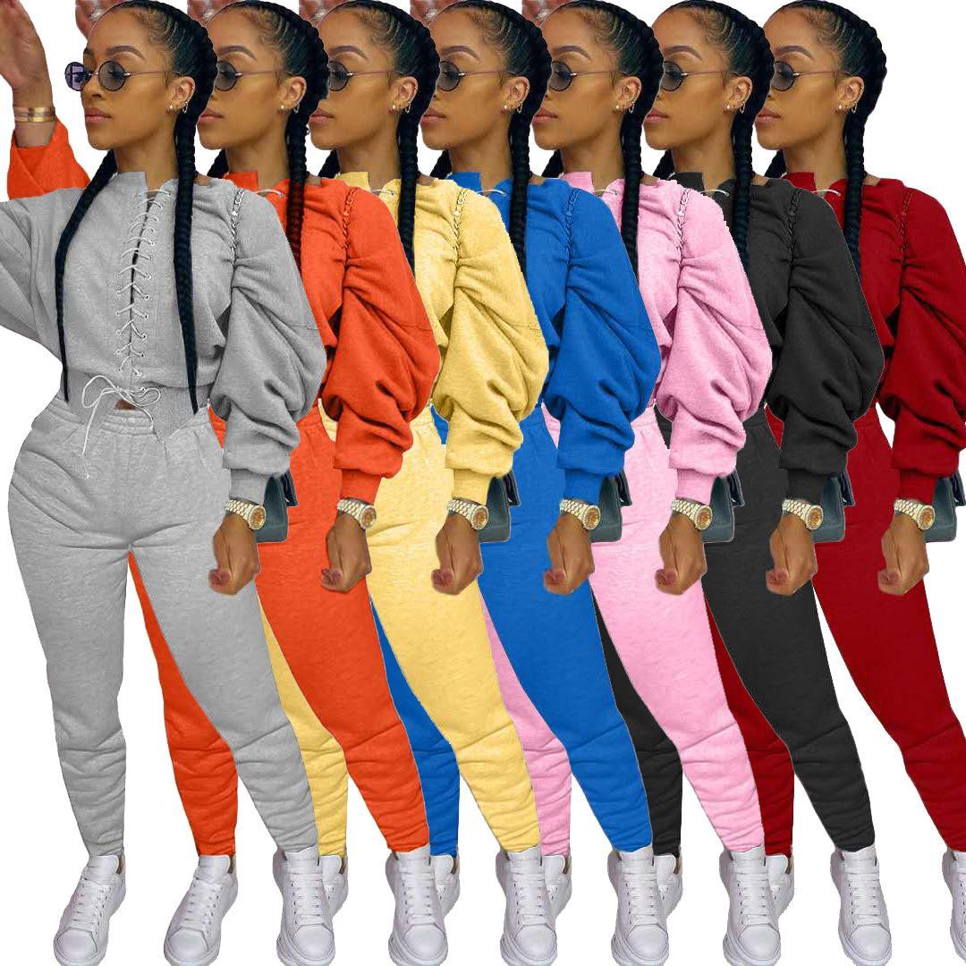 디자이너 여성 운동복 가을 두 조각 바지 의상 박쥐 슬리브 섹시한 붕대 최고 내기 바지 여성 새로운 패션 바지 세트 스포츠웨어
