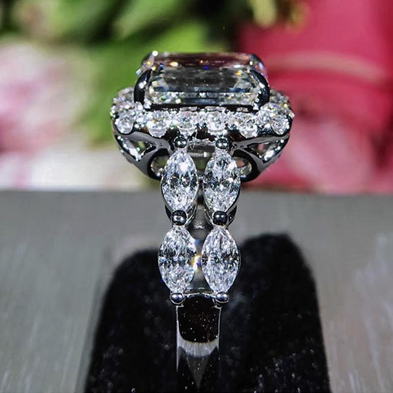 2019 New Square Zircon princesse anneaux Forme géométrique Inlay Zircon anneaux de mariage pour les femmes Party Banquet Bijoux Bague bague en diamant Femme