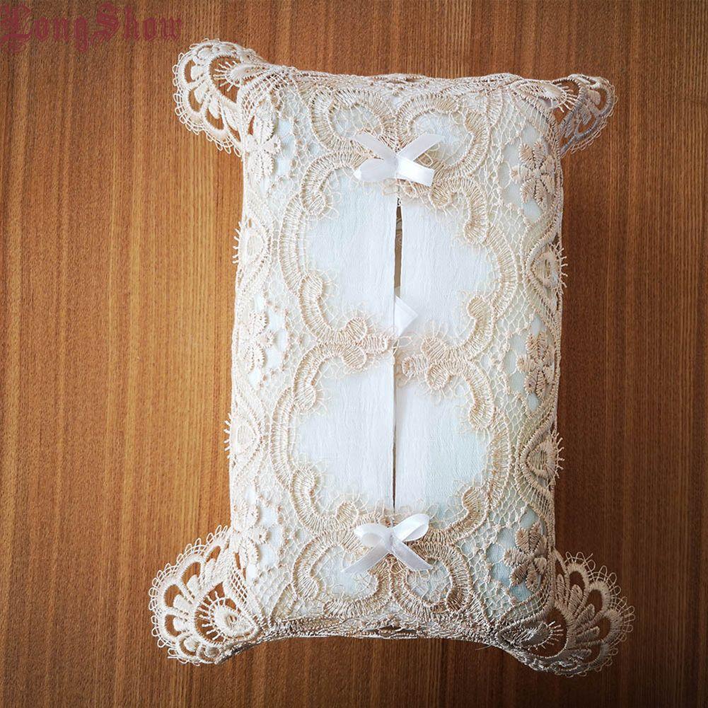 Главная Ремесло Салфетка Дело кружевной отделка Симпатичные украшения вышивка пыл Tissue Box