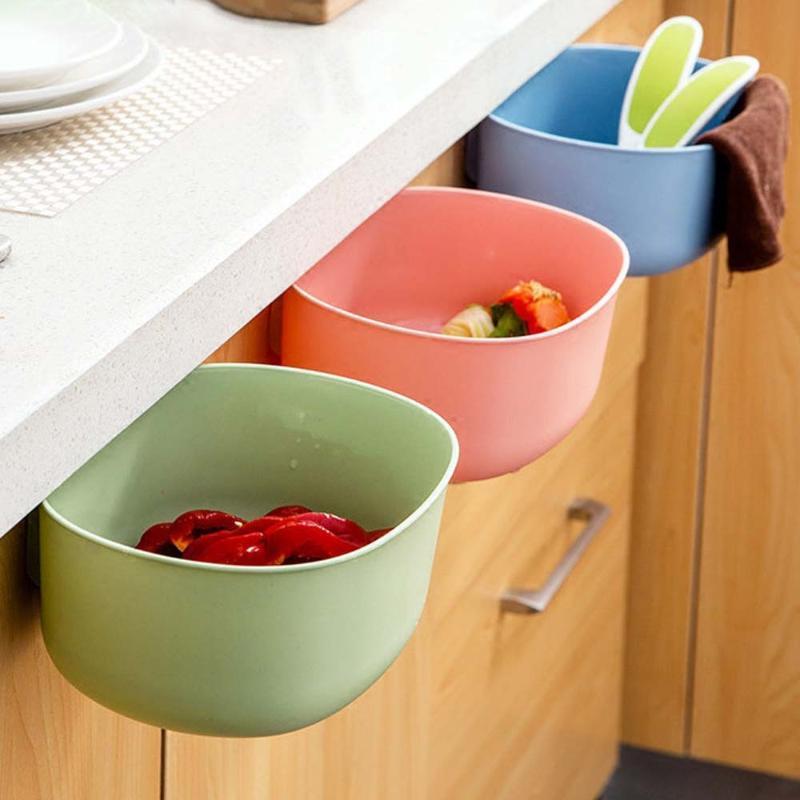 Plastic Ambiental de suspensão do armário de cozinha Porta lixo rack estilo de armazenamento de lixo Caixas de lixo rack Kitchen Supplies Organizer