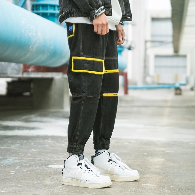 marca de contraste de color pantalones apretados de los pantalones vaqueros y los pantalones vaqueros de herramientas negro suelta de moda hip-hop de los hombres ins polainas ocasionales de nueve puntos de moda pHXpO pHXpO