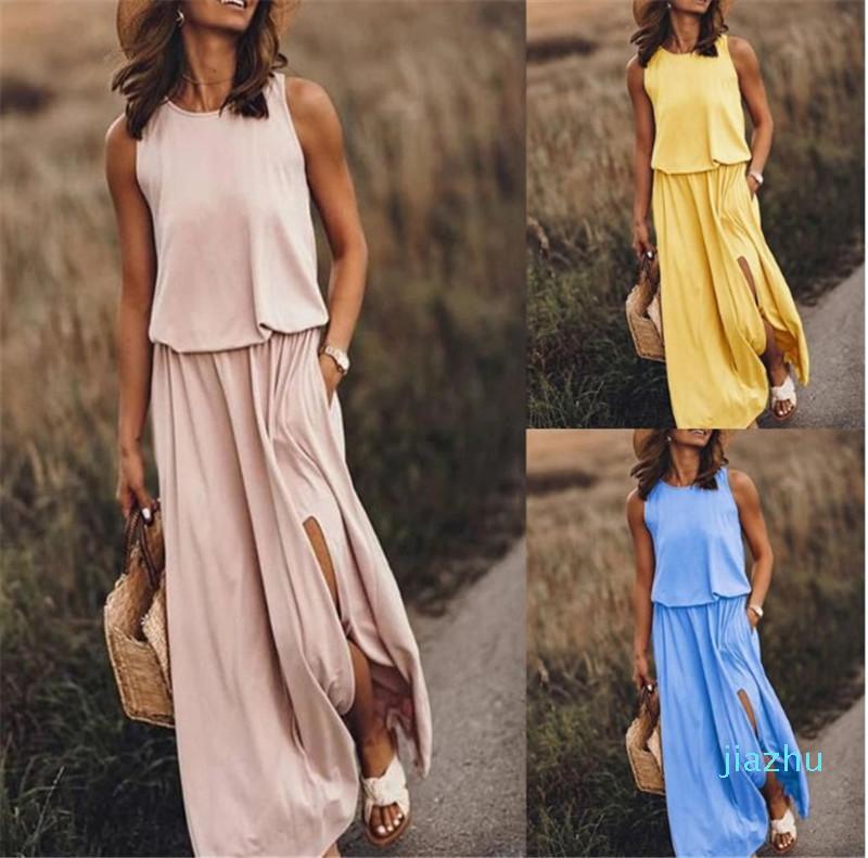 Caliente ocasional más tamaño de corte sin mangas vestido de la manera del color sólido de las mujeres vestidos de verano de 2020 diseñadores vestido de las mujeres Venta