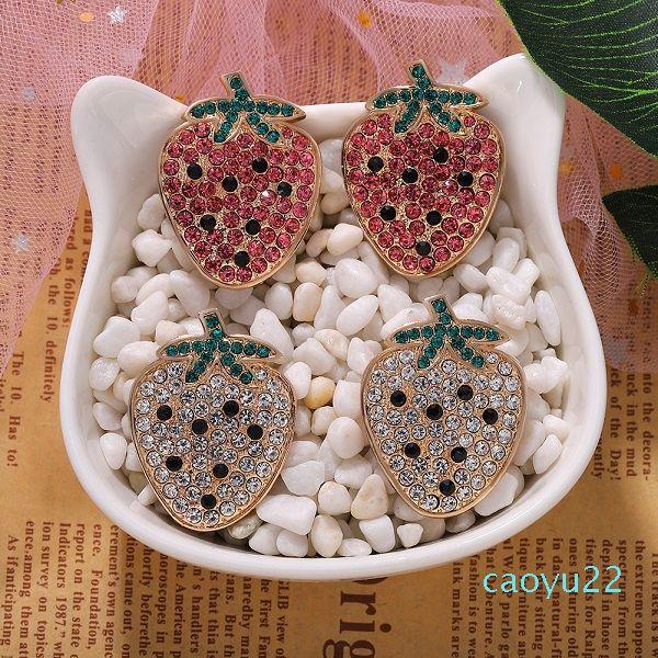 kadın kız moda lüks tasarımcı sevimli sevimli tatlı renkli elmas köpüklü meyve Sıcak Satış Çilek Stud küpe