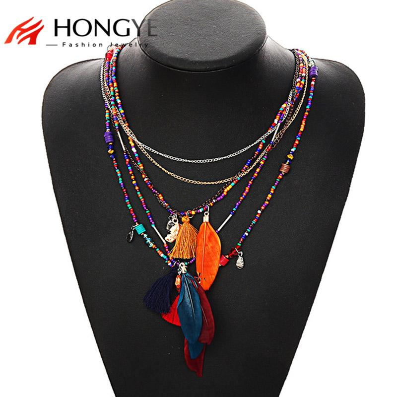 2020 Bohemia Multi Feather Necklaces&Pendants Beads Chain Statement Necklace Women Collares Ethnic Jewelry For Women Gift