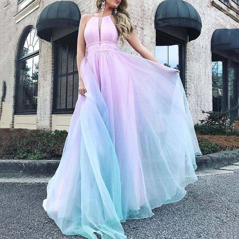 V Neck Sling Summer Casual Robes femmes Vêtements pour femmes Designer Slim Robes lambrissé couleur Robe longue