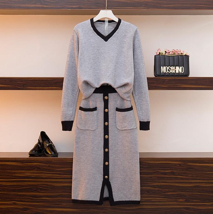 All-Match-Pullover Frauen zweiteiliges Set 2020 neuer Herbst Rock Pullover Anzug Rock und Winter Temperament Schlankheits gestrickte Klage der Frauen fashio
