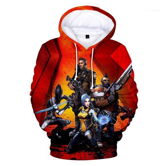 Mode Spiele Langarm-Pullover Herren-Sweatshirts 3D Digital Print Borderlands3 Menshoodies-