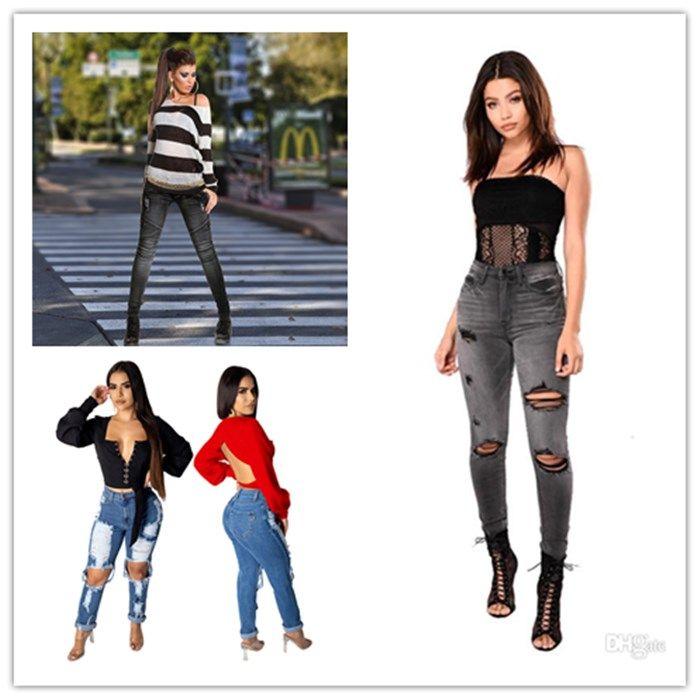 Mulher Primavera Jeans Preto Moda cintura alta Feminino retalhos Calça Casual Ladies painéis rasgado Fato com bolso