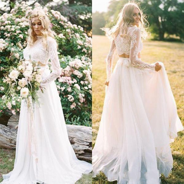 Deux pièces Boho plage A-ligne Robe de mariée en dentelle Top Robes de mariée pas cher Pays longue Sleeevs vestidos de novia 2020 en mousseline de soie
