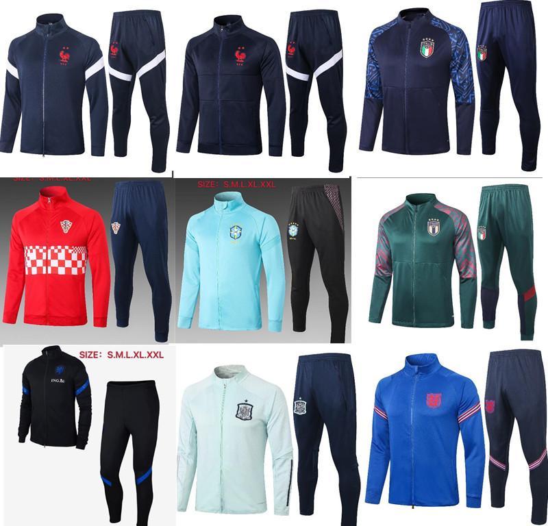 2020 2021 Spanien-Kit Fußball Trikots Trainingsanzug 20 21 Italien SILVA Argentinien RAMOS A.INIESTA spanische Jacke Fußball-Uniform Fußball