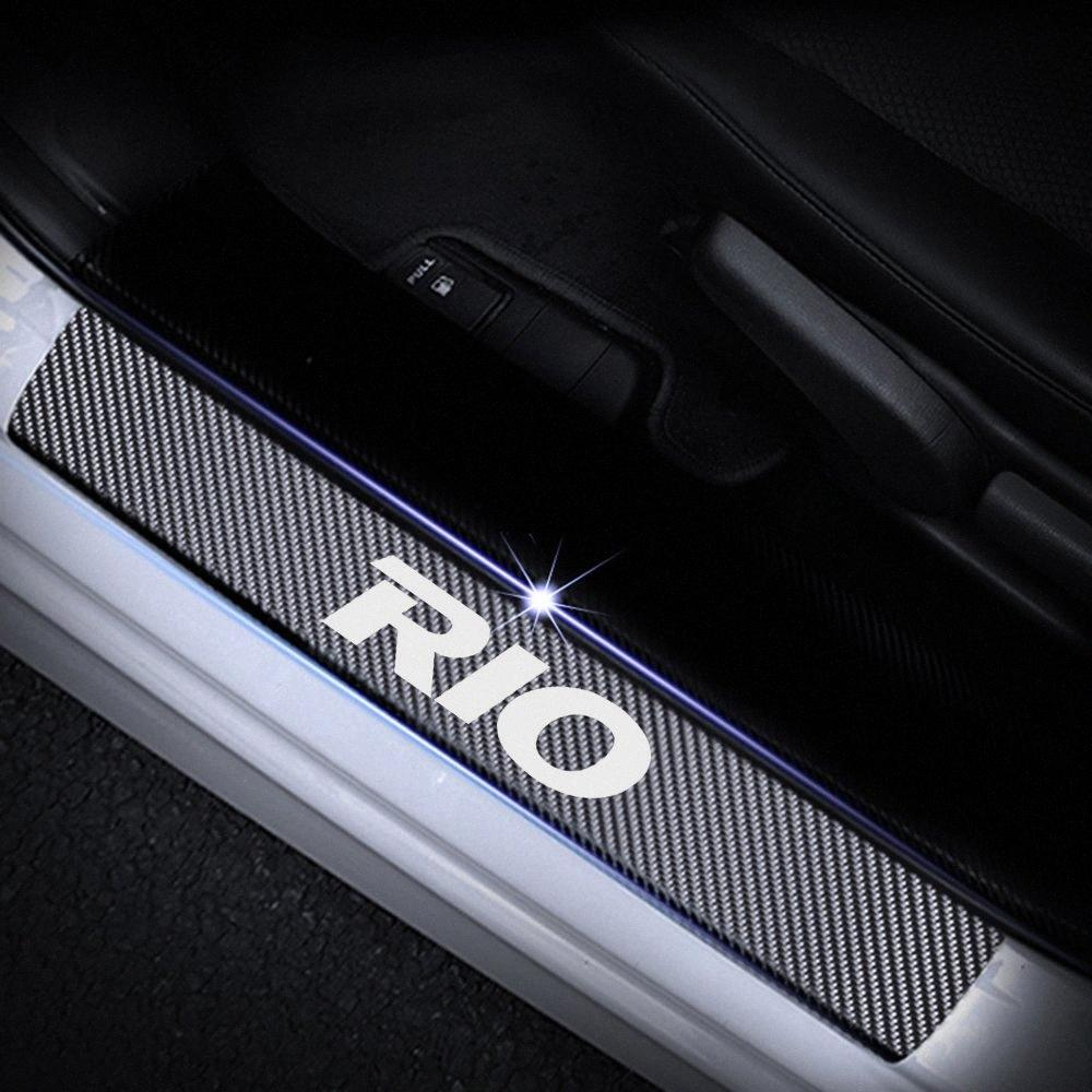 For Kia RIO Door Sill Protector Reflective 4D Carbon Fiber Sticker Door Entry Guard Sill Red Cool Accessories For Your Car Cool Auto A 6pQ6#