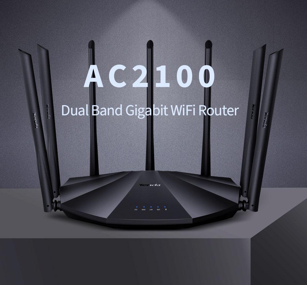Tenda AC23 AC2100 Router Gigabit 2.4G 5.0GHZ Dual-Band 2033Mbps Repetidor Wi-Fi sem fio com 7 Antenas de alto ganho mais