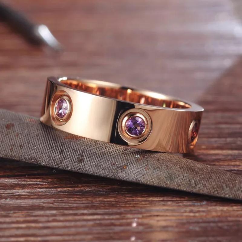 L'amore anelli in acciaio inox rosa color ring per le donne gli uomini Coppia di cristallo della CZ squilla i monili Anelli Mujer
