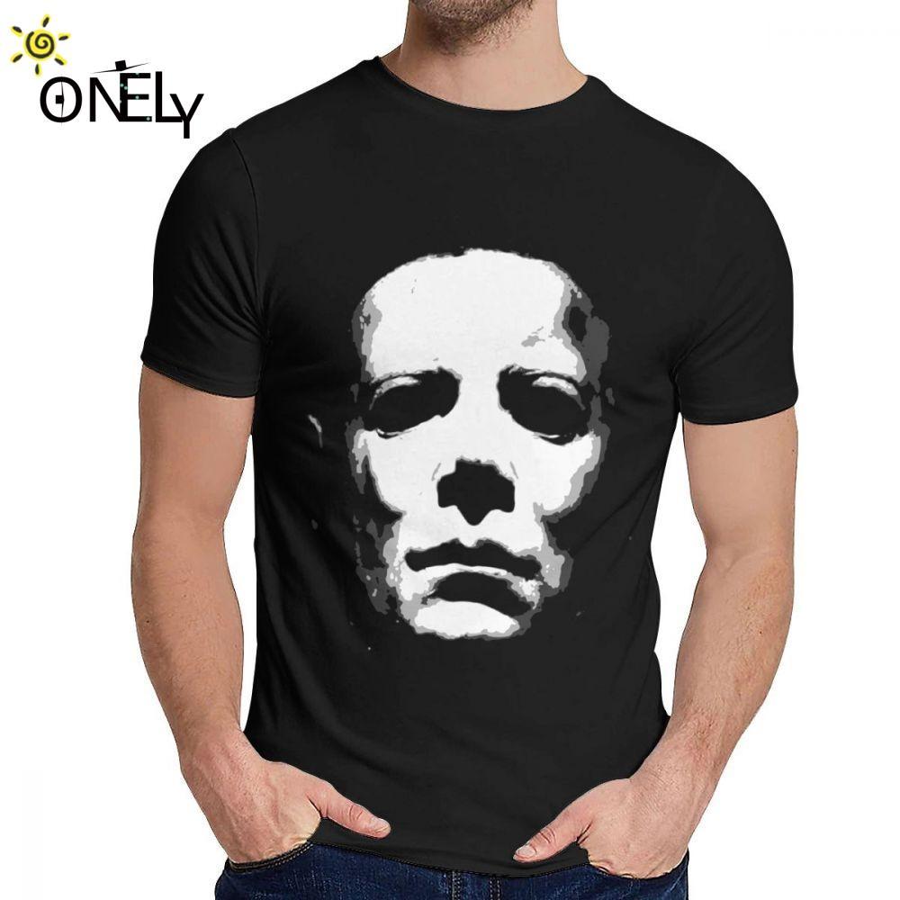 HALLOWEEN MASK Film Michael Myers Tee Shirt Tempo libero rotonda Collare personalizzato per gli uomini Organic Cotton S-6XL manica corta Classic