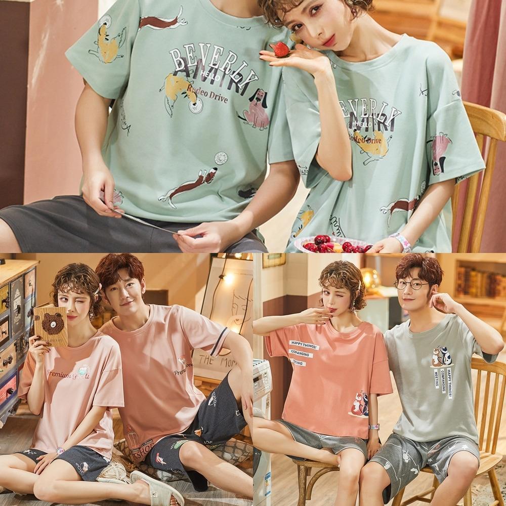 F7UXc l Çift mobilya yaz Kore tarzı pamuk kısa kollu erkek ve kadın karikatür sevimli kıyafetler clotheshome pijama clothingcasual
