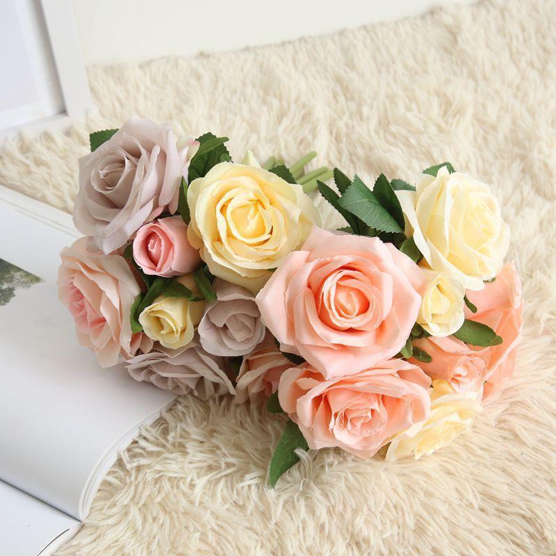 Tuch künstliche Rose Blumen Hochzeit Braut Bouquet Home Decoration Rose Blumen DIY Party Supplies handgemachte Fertigkeit