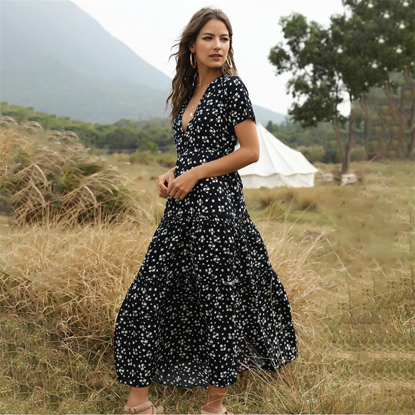 여자 여름 드레스 여성 캐주얼 꽃 인쇄 우아한 보헤미안 긴 드레스 주름 반팔 V 넥 섹시한 패션