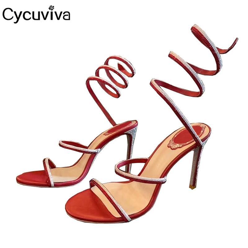 Salto Sexy fino cristal sapatos de festa Verão Mulheres Runway Strappy Gladiator Sandals Peep Toe Calçados tornozelo Strp Red Sandalias Mujer