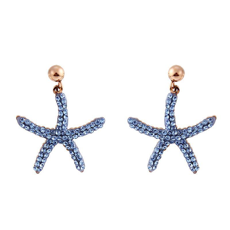 المدببة خمس نيو ستار الأذن التيتانيوم الصلب مسمار الأزرق نجم البحر مبالغ فيه أقراط أنثى الأزياء وردة نوع ذهب الشعبية حلية مصنعين