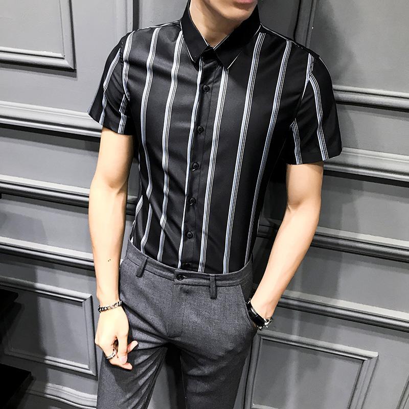 2020 camisa a rayas de los hombres de verano de manga corta de desgaste camisas de vestir ropa de trabajo del estudiante tendencia formales camisas del negocio Chemise Homme