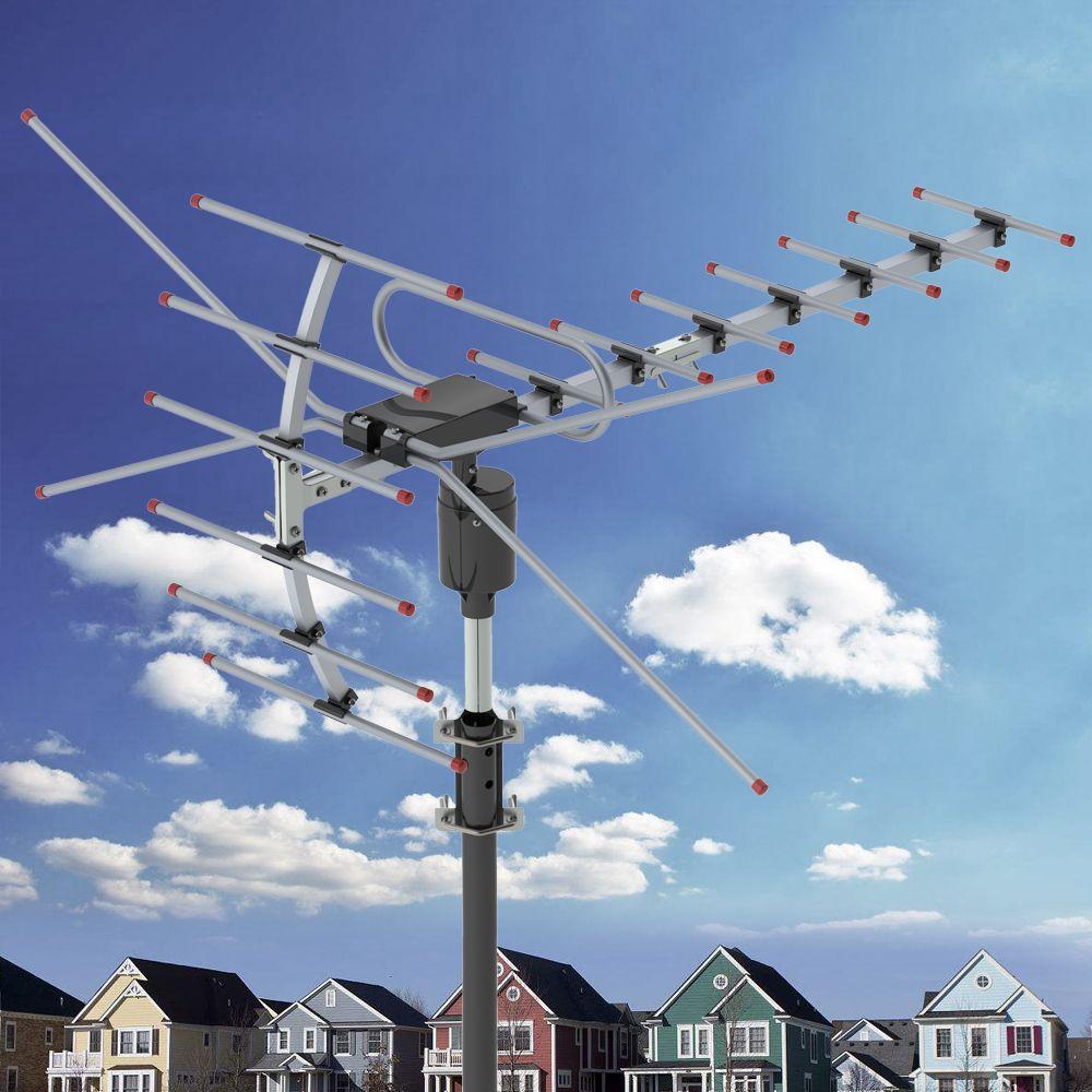Antena de TV Antena de Amplificação de Sinal ao Ar Livre Antena 360 ° Rotating UV Segmento Dual 45-230MHz 470-860MHz 15-22DB Antena ao ar livre Preto
