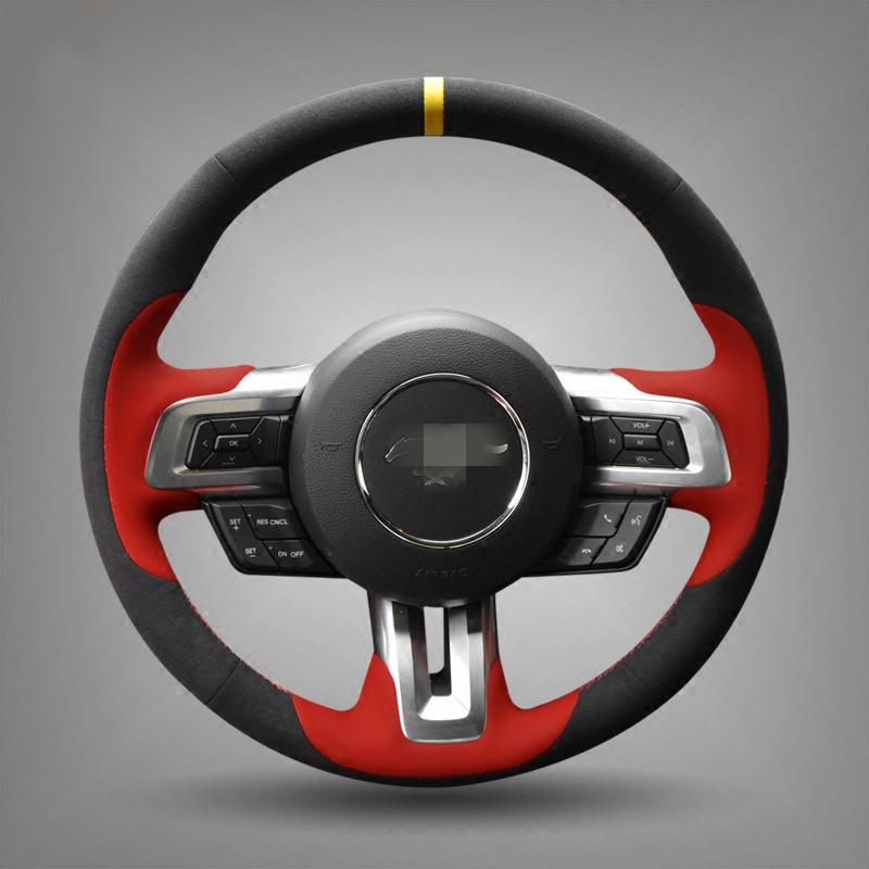 Hand-stitched Black Suede Steering Wheel Cover for Ford Mustang 2015-2019 Mustang GT 2015- 2019
