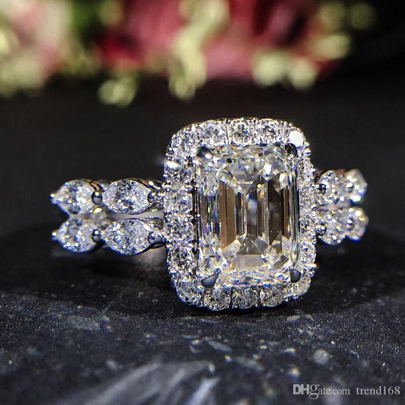 2019 New Square Zircon Princess Rings Geometric Shape Inlay Zircon Wedding Rings for Women Banquet Party Jewelry Bague Femme g04