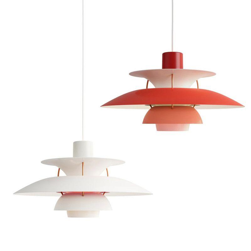 Lampada a sospensione PH5 LED Lampada da ombrello colorato Chandelier Danimarca Louis Poulsen E27 per soggiorno Cucina Cucina da pranzo Ristorante Ristorante Illuminazione