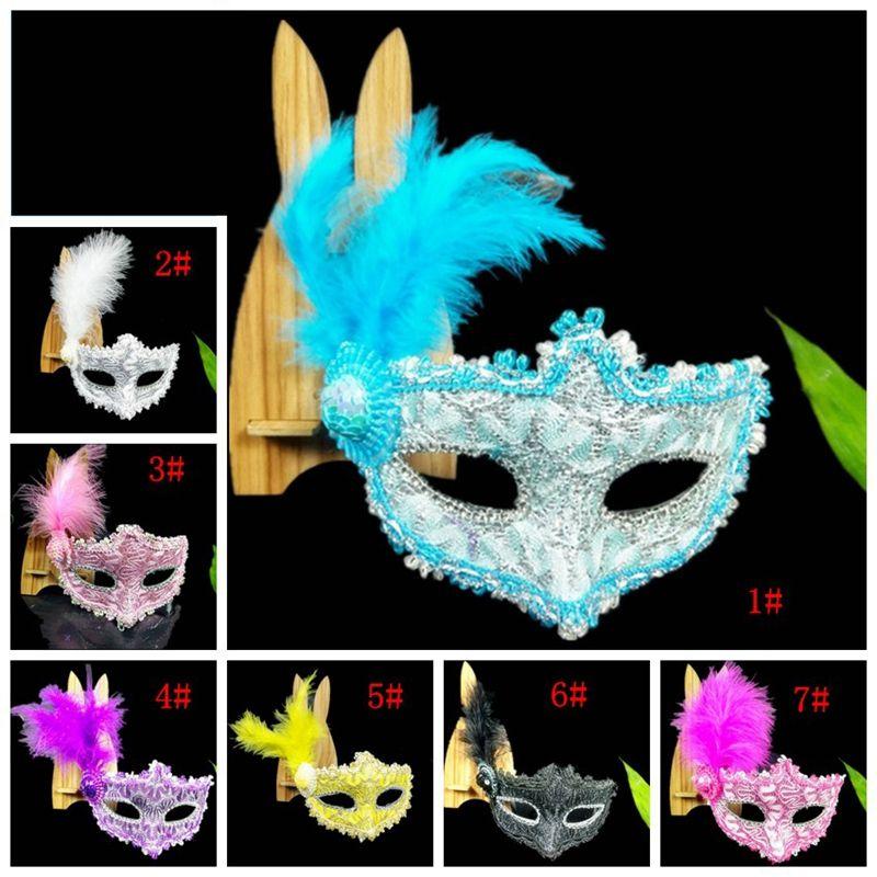 Noel Cadılar Bayramı Tüy Maskeler Dekorasyon Prenses Venedikli Masquerade Partisi Unisex Mardi Gras Kostüm Yarım Yüz Maskesi DBC BH3989 Maske