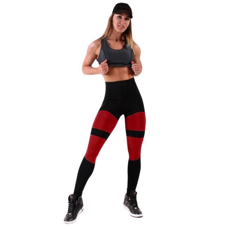 Sagace pantalones de yoga mujeres de la impresión de yoga pantalones de talle alto remiendo caderas Tema Leggings pantalones de chándal para las mujeres deportistas