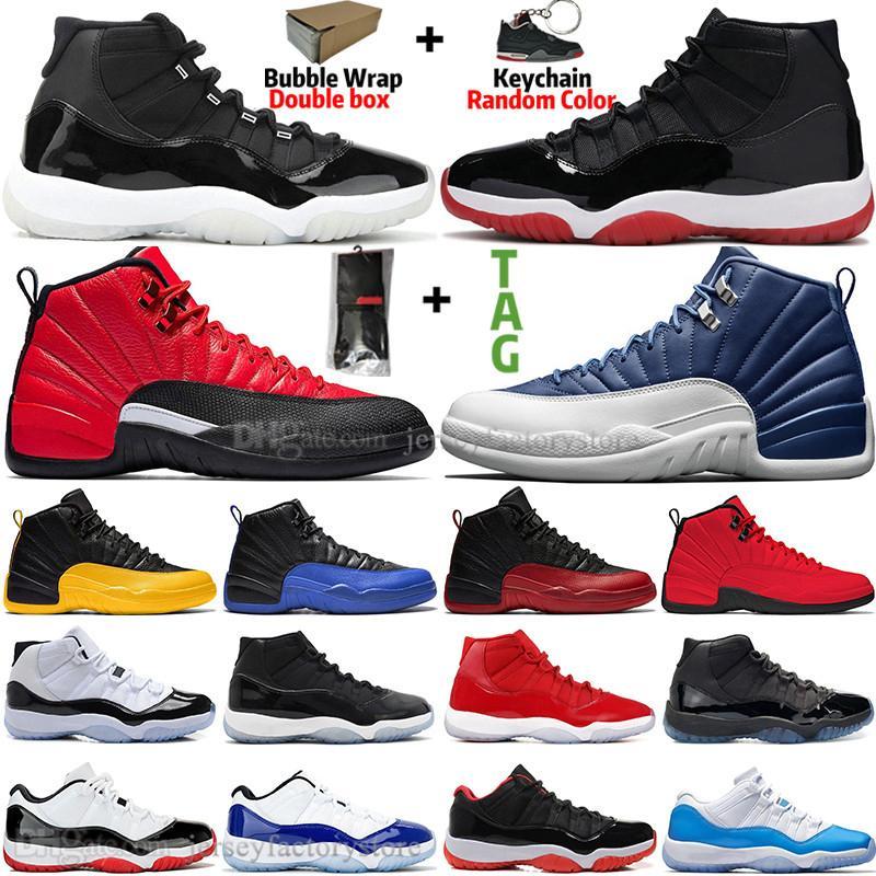11 11s 25 Aniversario Bred Concord 45 Zapatos atasco del espacio de baloncesto de los hombres de 12 12s Indigo juego real de la gripe inversa para hombre del juego de las mujeres zapatillas deportivas
